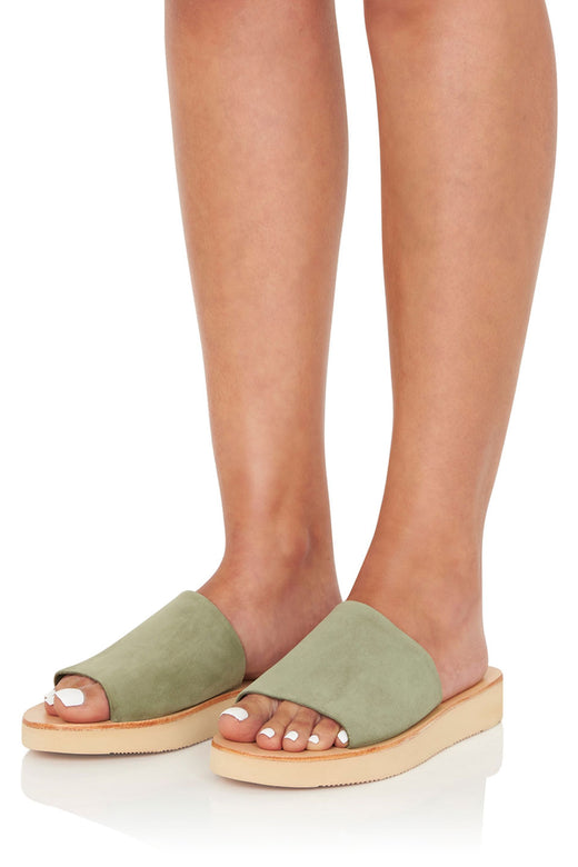 Tara Comfy Leather Slide Moss Natural Base Chunky Sole