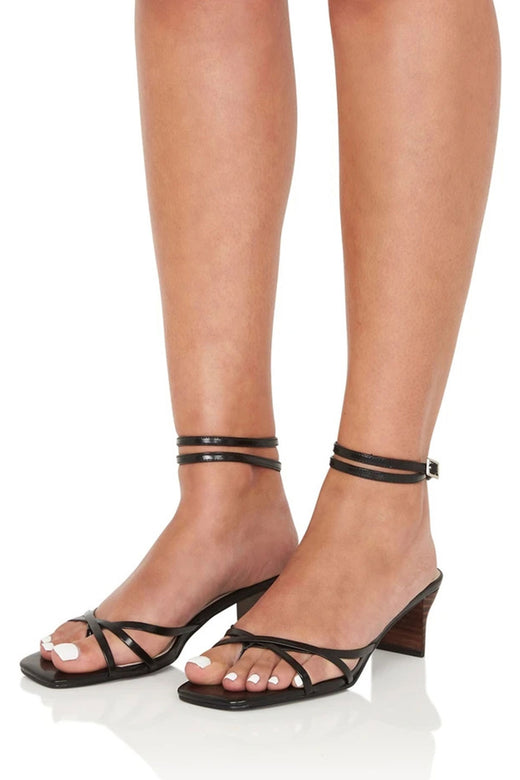 Violet Ankle Strappy Black Low Heel Shoe