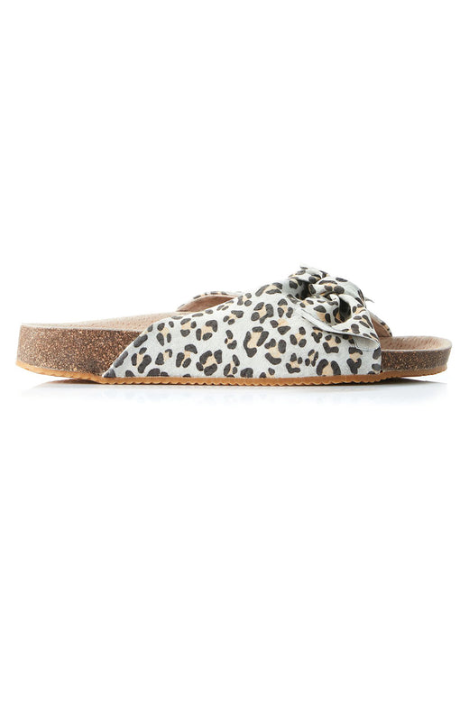 Somerset Leather Bow Tan Leopard Slide