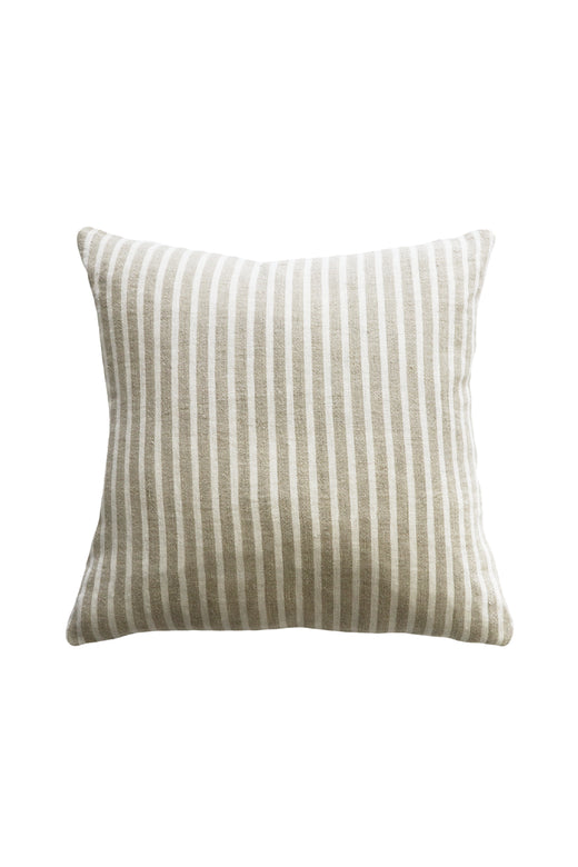 Spencer Linen Cushion with Feather Inner Ivory Natural Striped 50x50cm
