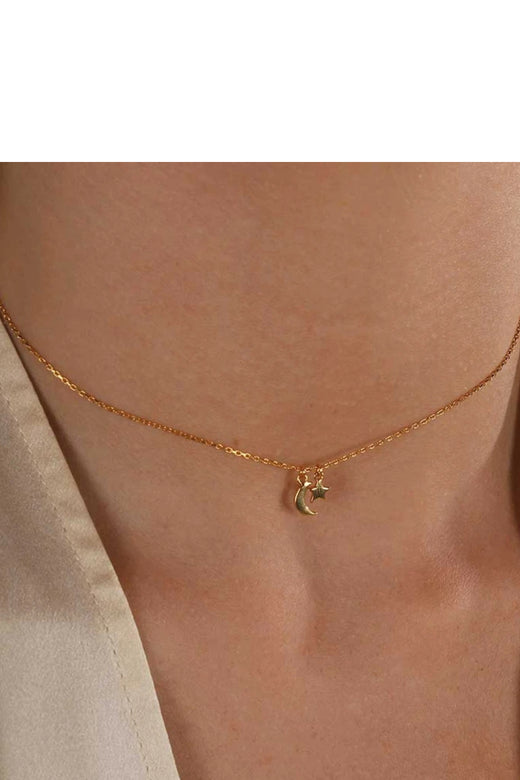 Star & Moon Necklace Sterling Silver 14K Gold Plated