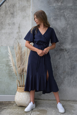 Striking Flutter Sleeve Navy Cross Over Linen Blend Midi Dress