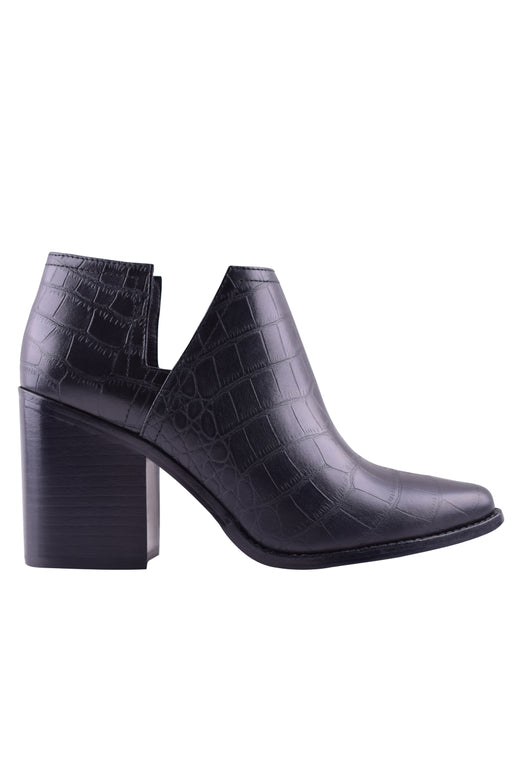 Stuart Cutout Black Croc Boot