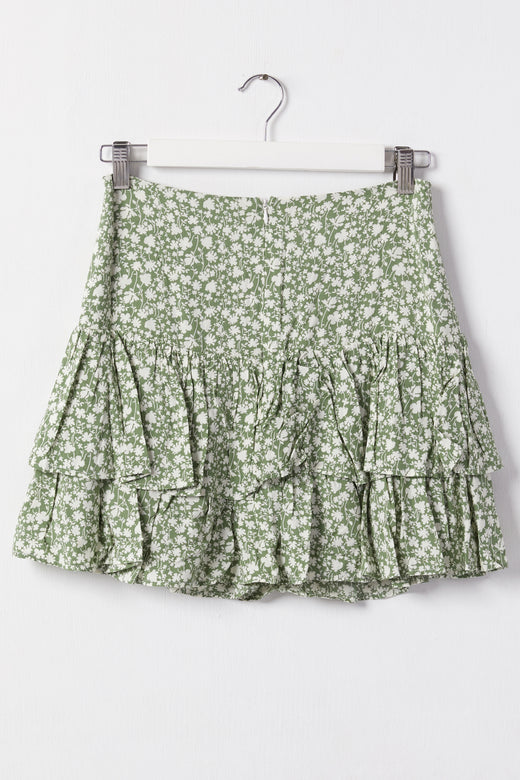Sublime Sage Floral Double Frill Mini Skirt