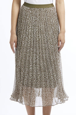 Sunray Khaki Sheer Leopard Pleated Skirt