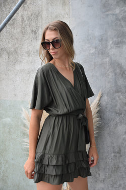 Sunrise Dark Khaki Satin Kimono Dress