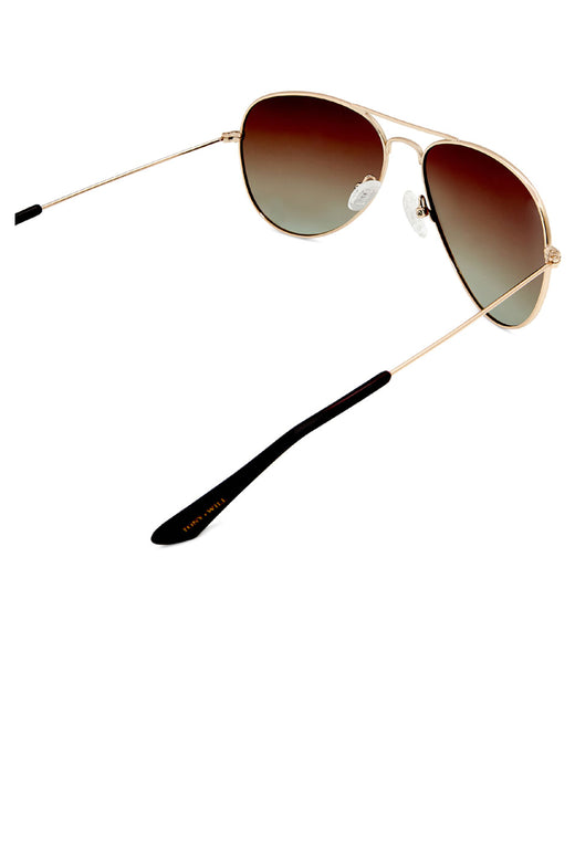 Thames Polarised Vintage Aviator Gold with Grad Brown Lens Sunglasses