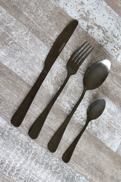 Classic 16pc Matte Black Table Cutlery