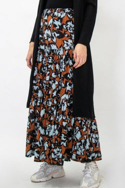 Teresa Cotton Tiered Cinnamon Sky Floral Maxi Skirt