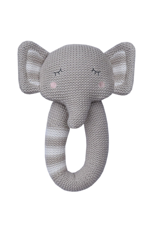 Eli the Elephant Knitted Rattle Grey
