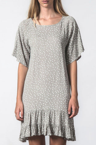 Eventful Ruffle Hem Mini Daisy Shift Dress Grey