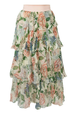 Tier It Up Ivory Floral Midi Skirt
