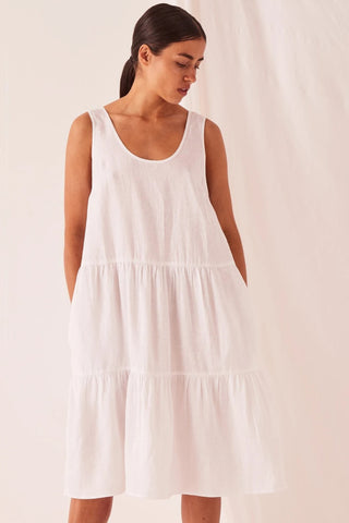Tiered White Linen Dress