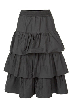 Tiers In Your Eyes Black Poplin Midi Skirt