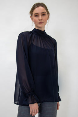 Tilly Recycled Share Bow Navy Blouse