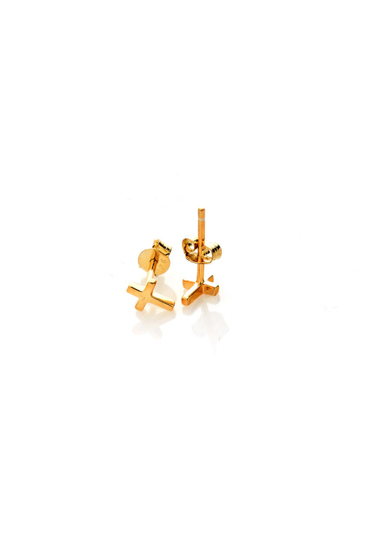 Cross Studs Gold Plated