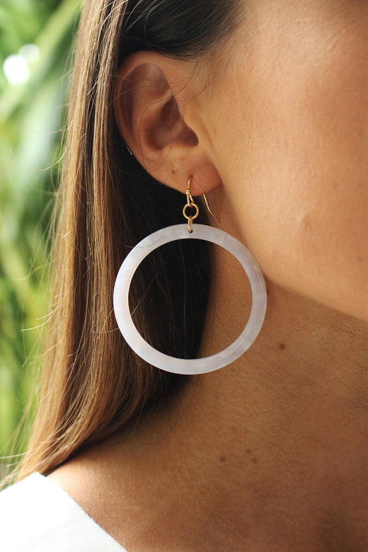 Tort White Circle Earrings