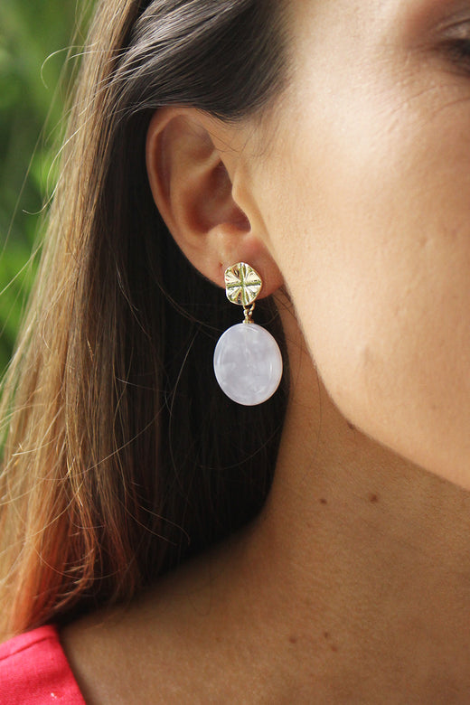 Tort White Disc Earrings