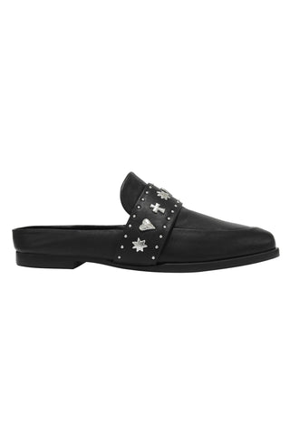 Tuesday Black Leather with Studs  Slides