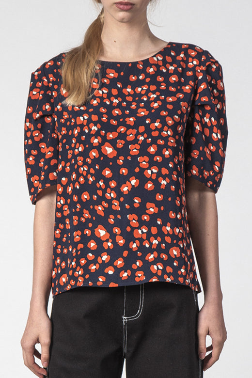 Tully Black Poppy Print Top