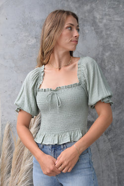 Turn It Up Sage Shirred Puff Sleeve Crop Top
