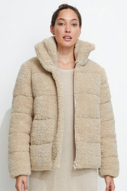 Golden Years Biscotti Sherpa Puffer Jacket
