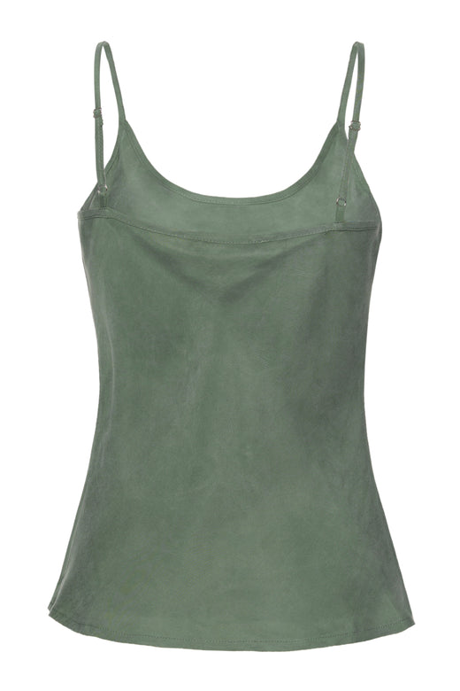 Upward Khaki Cupro Scoop Neck Bias Cami