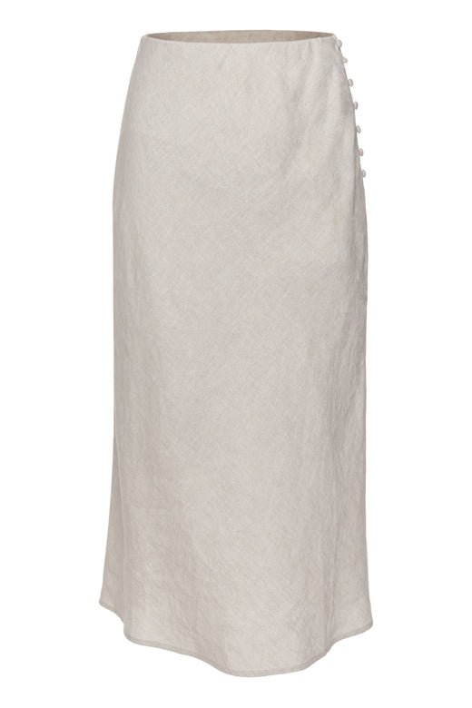 Utopia Natural Bias Linen Midi Skirt with Self Buttons