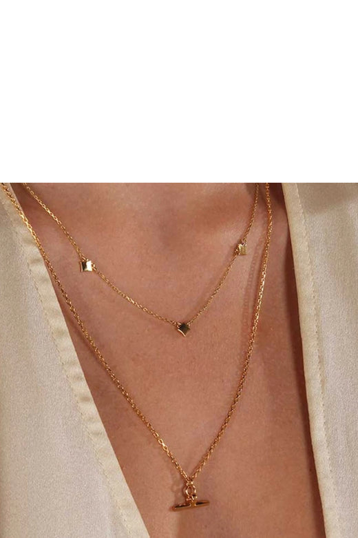 Valentine T - Bar Necklace Sterling Silver 14K Gold Plated