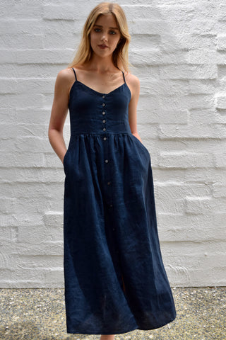 Visionary Navy Strappy Button Front Linen Midi Dress