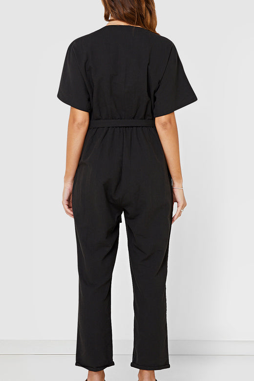 Tori SS Button Up Linen Blend Black Jumpsuit