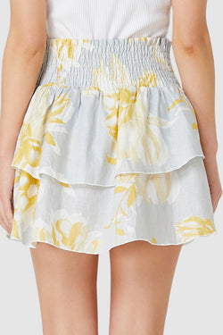 Lola Shirred Ruffle Grey with Yellow Floral Mini Skirt