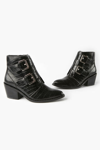 Whisper Black Croc Buckle Ankle Boot