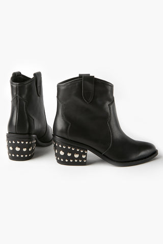 Willow Western Black Ankle Boot with Heel Studs