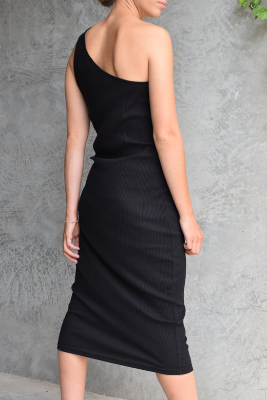 Wisdom Black Rib One Shoulder Dress