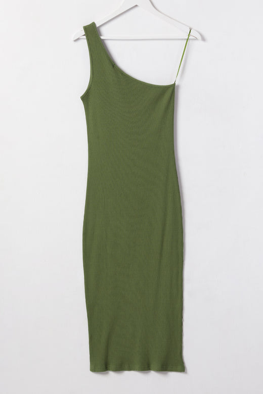 Wisdom Khaki Rib One Shoulder Dress