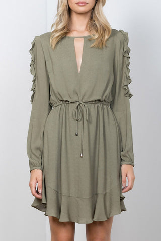 Lift Me Ruffle Sleeve Mini Dress Khaki