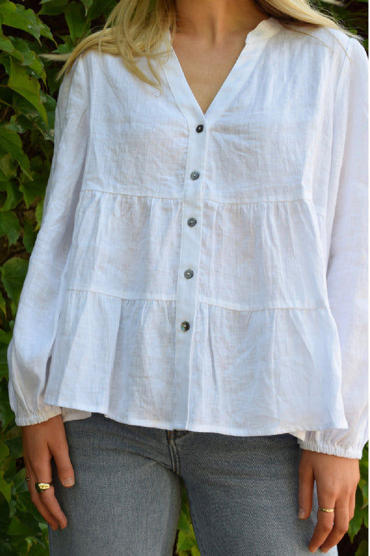 Wondrous White LS Puff Sleeve Tiered Soft Linen Blouse