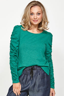 Wrinkle Sleeve Green Tee