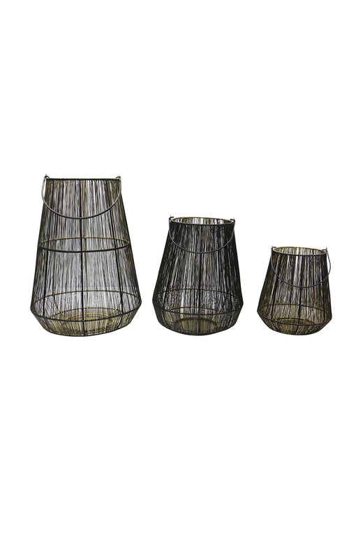 Wyatt Black Gold Metal & Wire Lantern