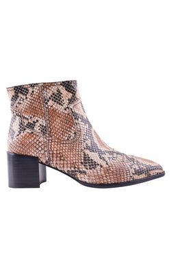 Wylie Tan Snake Ankle Boot