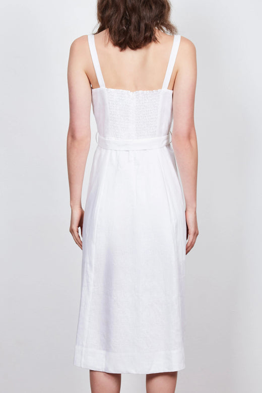 Zaylee Button Front Belted White Midi Dress