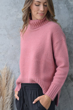 Zealous Old Rose Chunky Drop Shoulder Roll Neck Knit