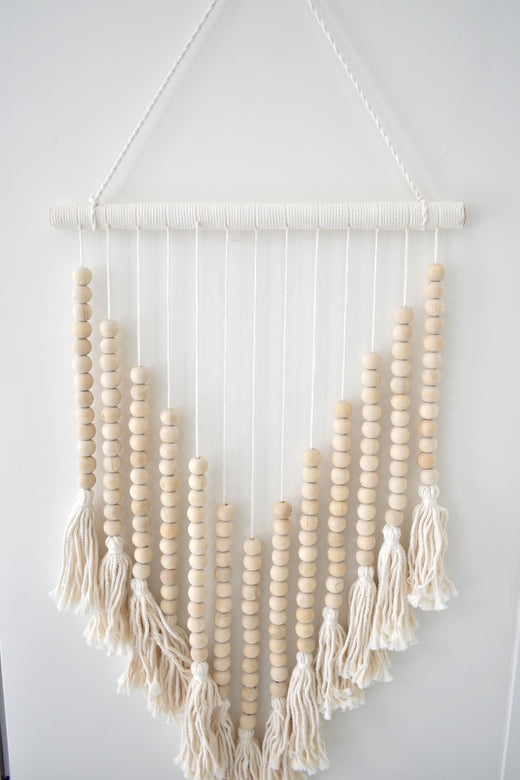 Beaded Hanging Triangle with Tassels