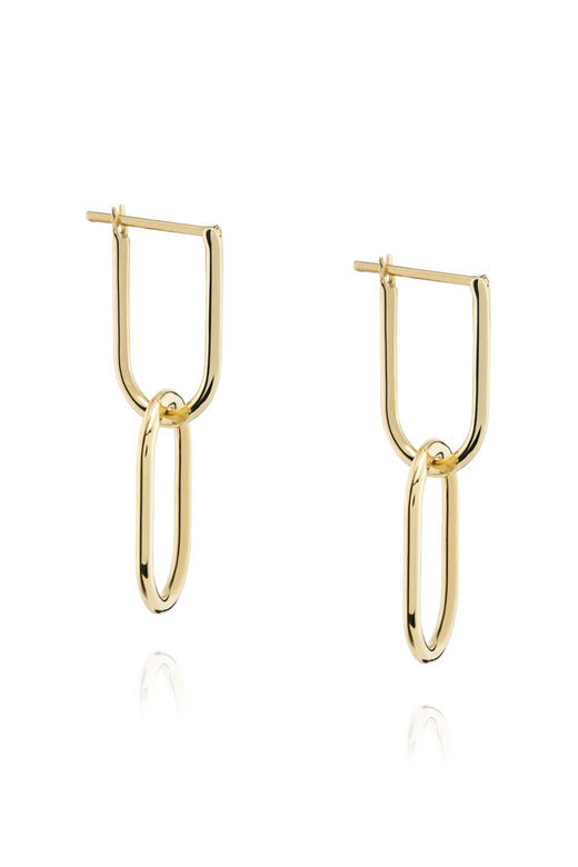 Linked Hoop 14k Gold Plate Earrings