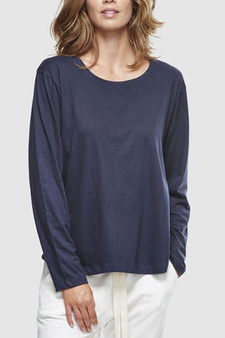 Crew Neck Organic Cotton LS French Navy T Shirt