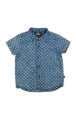 Kids Academy SS Light Blue Print Denim Shirt