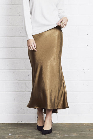 Alice Luxury Bias Cut Midi Khaki Skirt