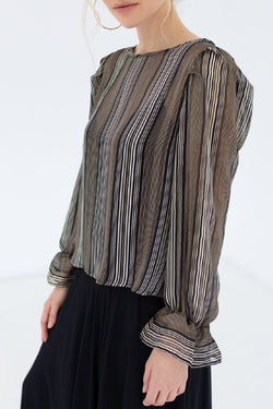 Amelie LS Gold Stripe Top