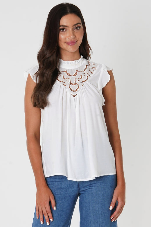 Anais High Lace Neck Frill Sleeve White Top